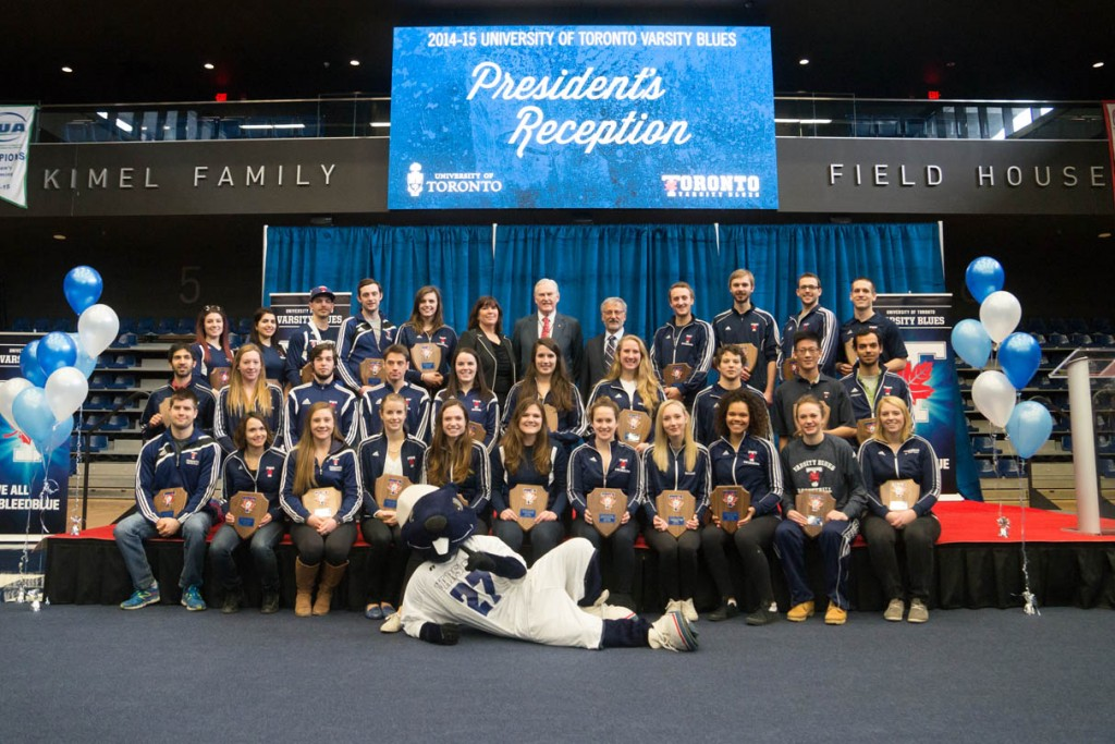 Chancellor Wilson with students and Big Blue at the Varsity Athletes reception 2014-15